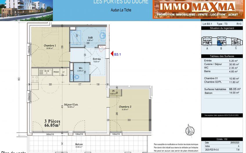 Audun-le-Tiche-Appartement à vendre 66m²