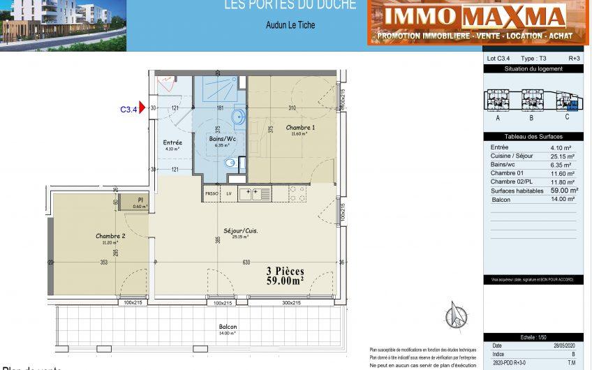 Audun-le-Tiche-Appartement à vendre 59m²